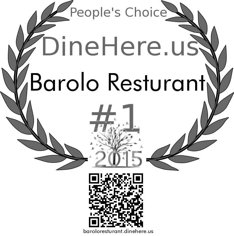Barolo Resturant DineHere.us 2015 Award Winner
