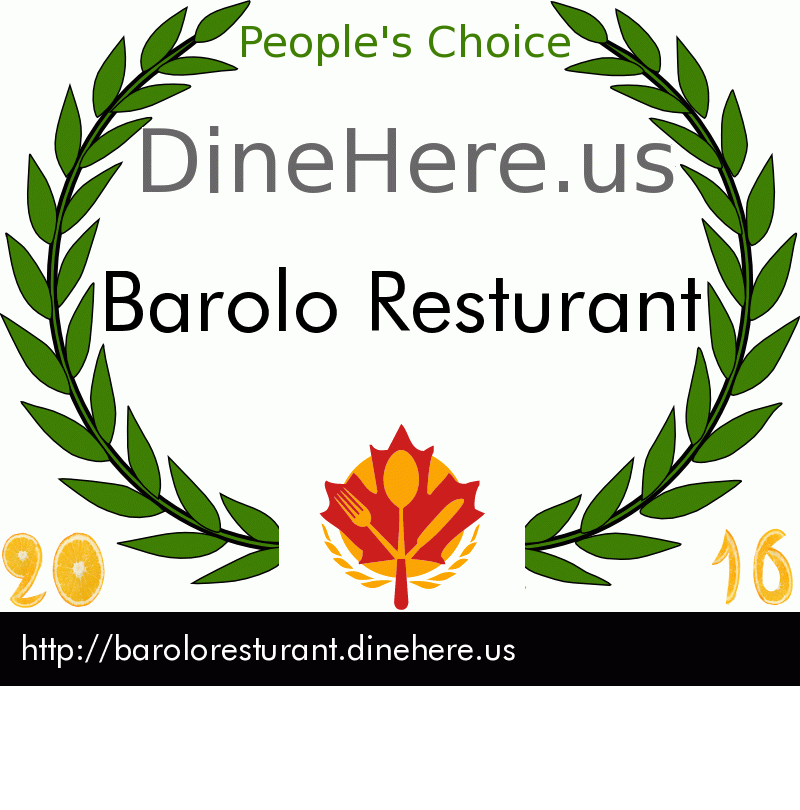 Barolo Resturant DineHere.us 2016 Award Winner